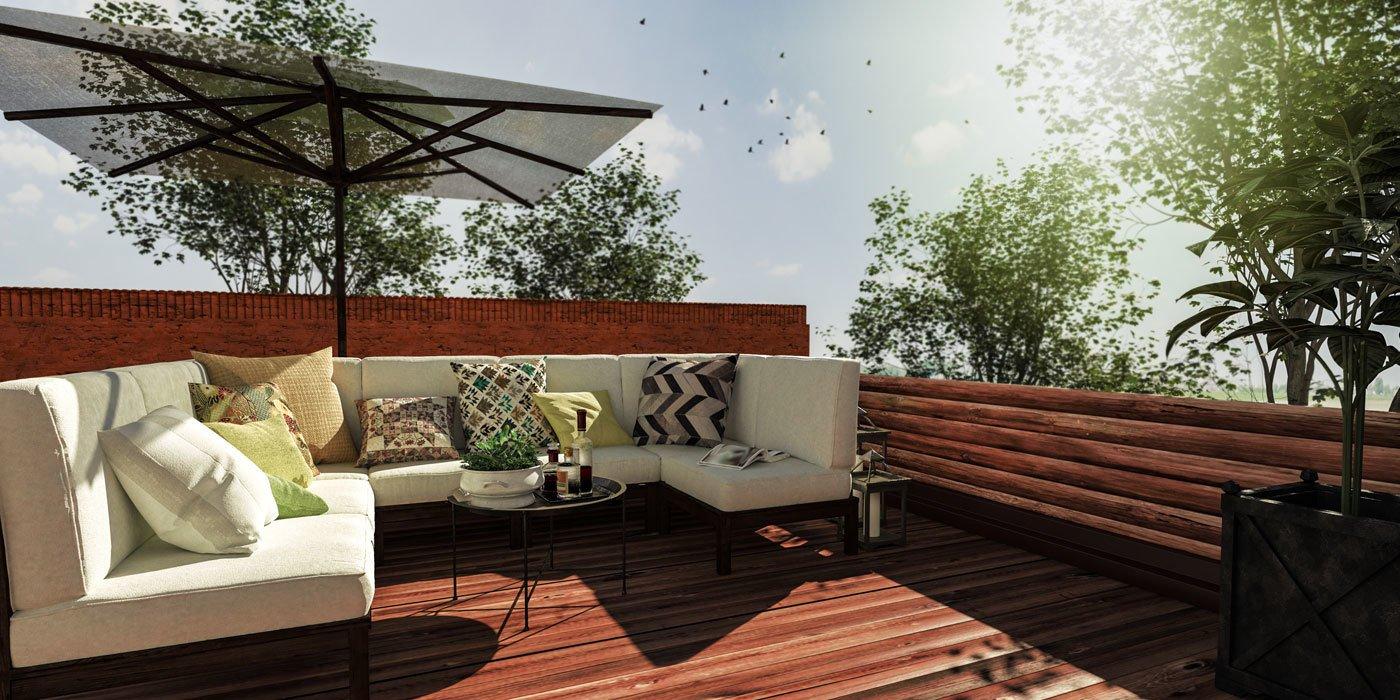 Dachterrasse mit Sitzecke und Sonnenschirm