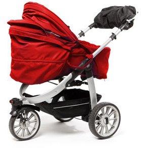Abbildung eines dreirädrigen Kinderwagens mit rotem Verdeck.