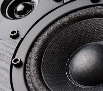 Herangezoomter Bildausschnitt mit Lautsprecher-Membran und Hochtöner