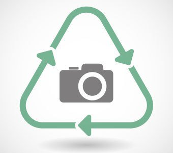 Kamera-Symbol mit grünem Recycling-Dreieck