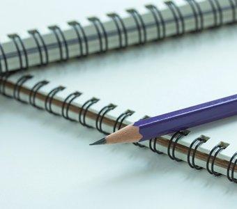Zwei per Drahtkammbindung gebundene Hefte nebeneinander mit aufliegendem Bleistift