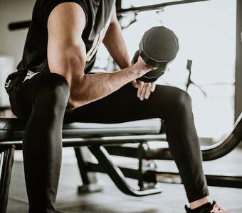 Mann sitzend auf einer Hantelbank beim Training mit einer Kurzhantel