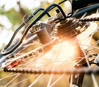 Nahaufnahme einer Fahrrad-Kettenschaltung