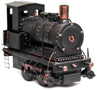 Nahaufnahme einer klassischen Modell-Dampf-Lokomotive