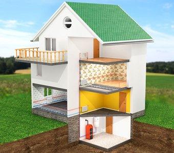 Schematische Zeichnung eines Wohngebäudes mit einer Wärmepumpe als Versorgungssystem.