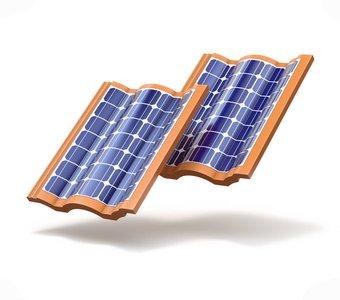 Dachziegel mit eingebauten Solarzellen