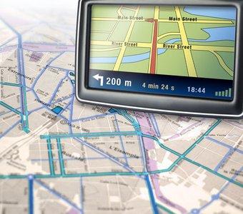 Navigationssystem auf einem Stadtplan