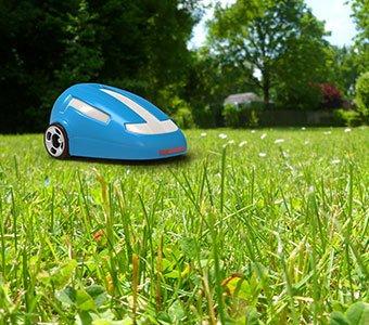 Aufnahme eines Rasenmäher-Roboters auf einer Rasenfläche.