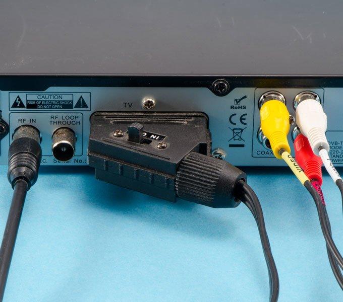 Verschiedene Anschlüsse und Kabel eines TV Receivers werden im Detail gezeigt