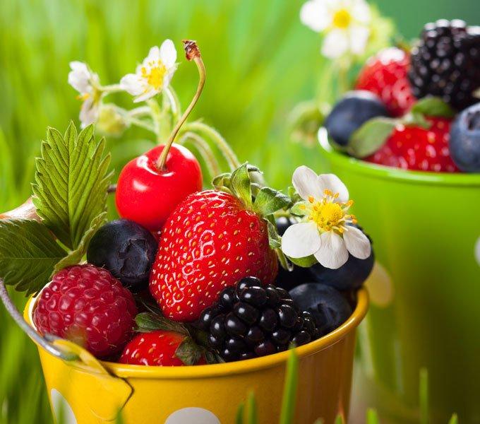 Himbeeren, Brombeeren, Heidelbeeren und Erdbeeren in einem kleinen Eimer