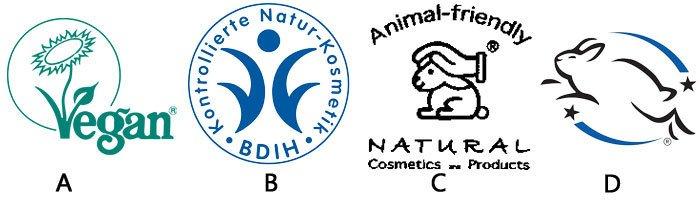 Abbildung vier verschiedener Tierschutz-Siegel.