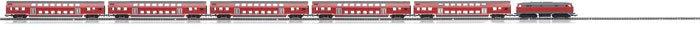 Modell eines roten Regionalzugs