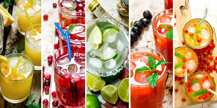 Viele unterschiedliche Getränke nebeneinande