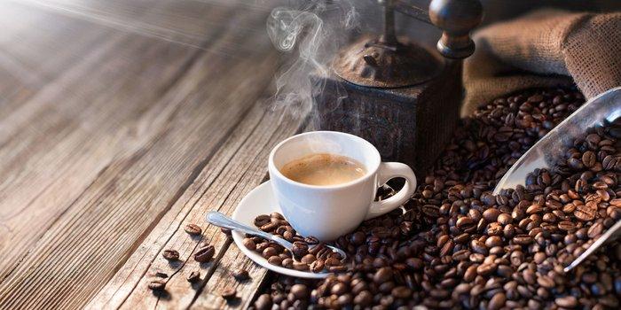 Kaffeebohnen neben einer Kaffeemühle und einer Tasse frisch aufgebrühtem Kaffee