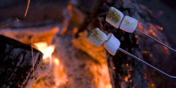 Marshmallows an zwei Spießen über einem Lagerfeuer