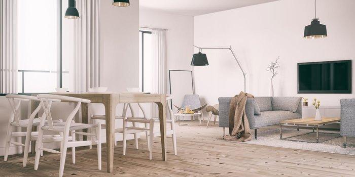 Wohnzimmer mit skandinavische Inneneinrichtung