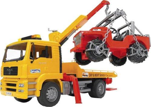 Bruder MAN TGA Abschlepp-LKW mit Geländewagen (2750)