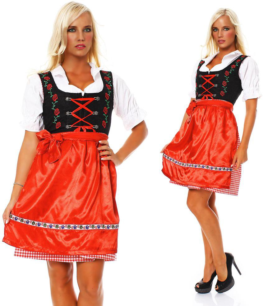 Damen Dirndl Set 3 teilig Trachtenkleid Emma  Bluse Schürze MS-Trachten