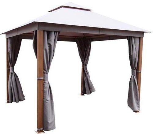 Pavillon 3x3 m aus Holz KDI mit Dach Gartenlaube mit Rankelementen