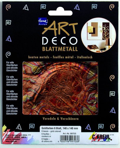C. Kreul Home Design Art Deco Blattmetall Flower geflammt rot-gold