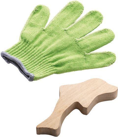 HABA Schnitzhandschuh Set 300318 NEUES MODELL Schnitzen Gelber Handschuh BONUS