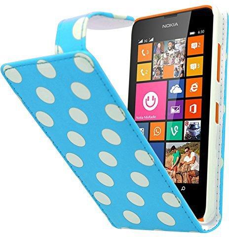 Samrick Polka Dots Flip Case Blau/Weiß (Lumia 630)