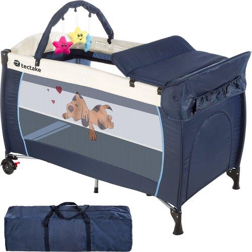 TecTake Reisebett höhenverstellbar mit Babyeinlage Navy