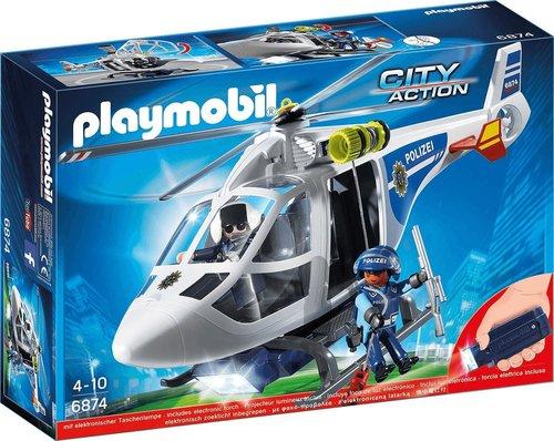Playmobil City Action - Polizei-Helikopter mit LED-Suchscheinwerfer (6874)