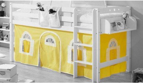 Ticaa Vorhangstoff Classic für Hochbett Landhausoptik gelb