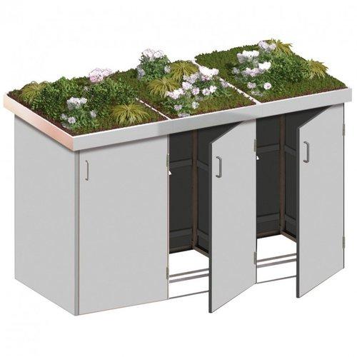 TraumGarten Mülltonnenbox HPL Lichtgrau 3 x 240 Liter Pflanzschalen