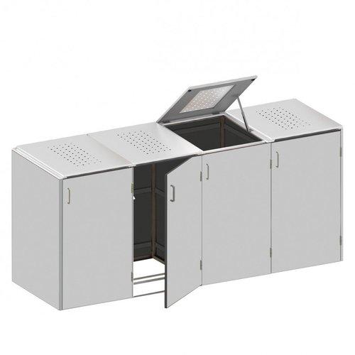 TraumGarten Mülltonnenbox HPL Lichtgrau 4 x 240 Liter Klappdeckel