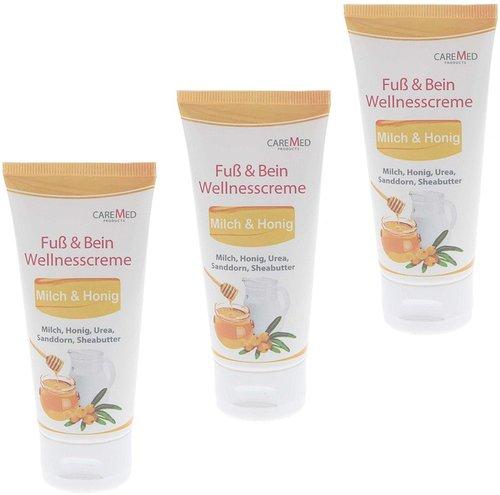 CareMed Fuß & Bein Wellnesscreme Milch & Honig (3 x 50ml)