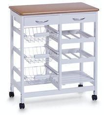 Zeller Küchenrollwagen weiß/Bamboo-Dekor (13774)