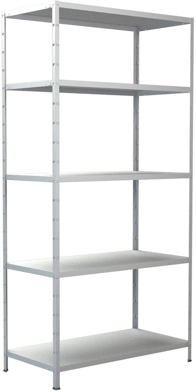 Schraub-Grundregal Schulte weiß 1800x800x350 mm 5 Böden Tragkraft 300 kg