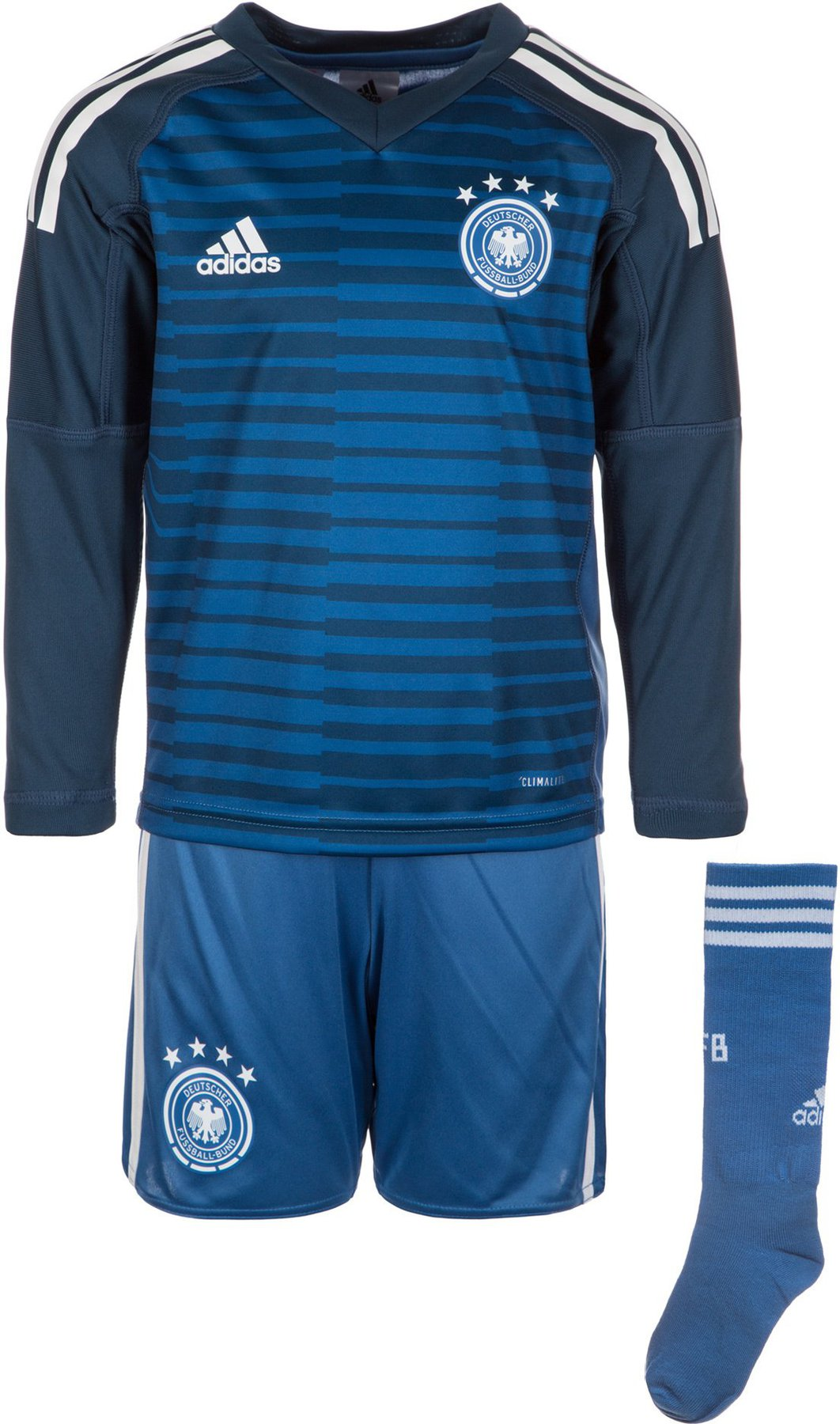 adidas DFB Deutschland Torwart Minikit Heimtrikot WM 2018 blau weiß