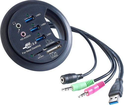 Xystec 3 Port Tisch-Kabeldose USB-3.0-Hub