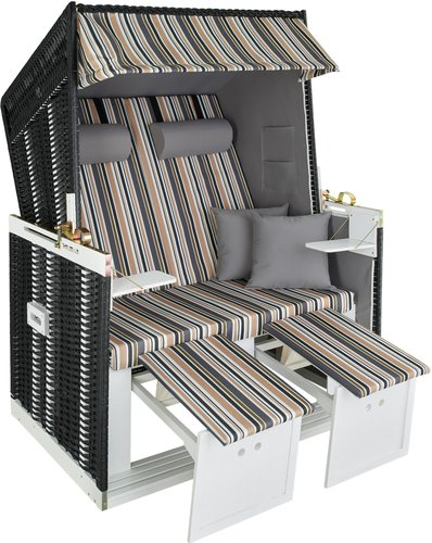TecTake Luxus Strandkorb schwarz/grau/braun