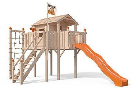 Isidor Holzbau Baumhaus Terrizio - ohne Schaukelanbau, Rutschenfarbe orange, mit Sicherheitstreppe