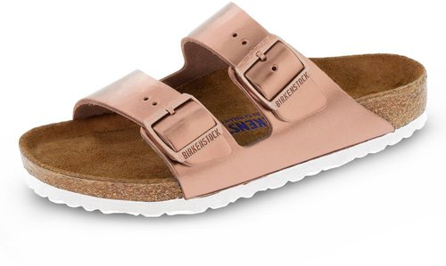 sports shoes 45652 0bf9f Birkenstock Arizona Naturleder Weichbettung Metallic