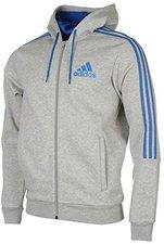 adidas ESS 3S Herren Sweatjack Full Zip Hoodie Kapuzenjacke Raw Steel Grau Blau