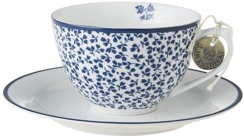 Laura Ashley Floris Cappuccino-Tasse mit Untertasse Blau (250 ml)