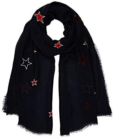 TOMMY HILFIGER Poppy Breton Stripes Scarf Tuch Accessoire Blue Ink Blau Weiß Neu