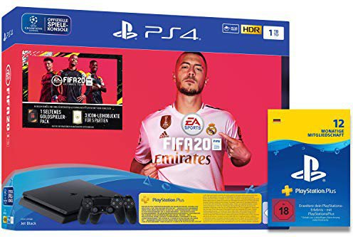 Sony PlayStation 4 (PS4) Slim 1TB + FIFA 20 Ultimate Team + 2 Controller