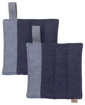 Ferm Living Topflappen Denim Set 2-teilig blau