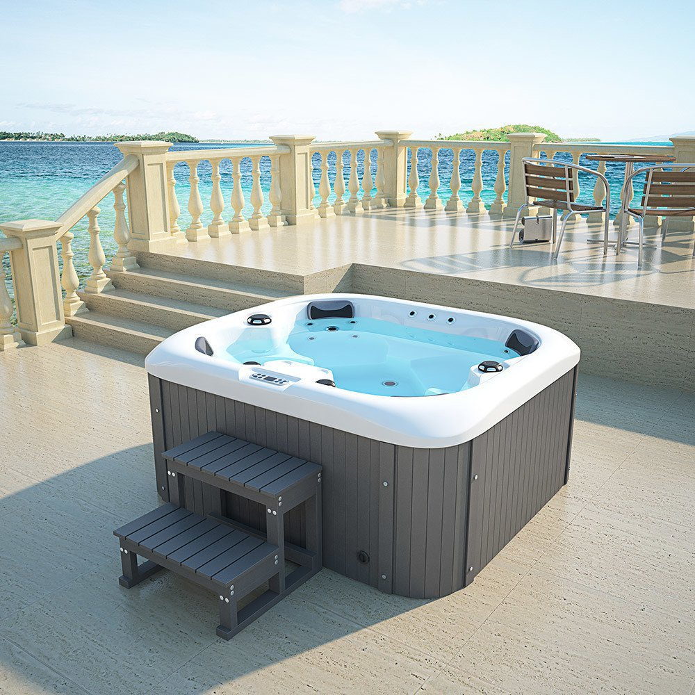 Home Deluxe Outdoor Whirlpool Sea Star plus Treppe/Thermoabdeckung