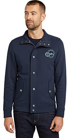 Tom Tailor Herren Jacke Sweatjacke mit Stehkragen Regular
